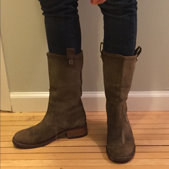 99ee7ebfbb3 Cole Haan Shoes - Cole Haan olive green suede lug mid-calf boots